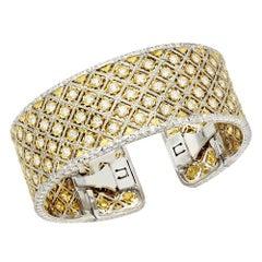 6.10 Carat Two-Tone 18 Karat Gold Diamond Wide Cuff