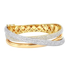 14 Karat Gold Three-Tone Trinity Diamond Bracelet