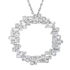 2.03 Carat Baguette 1.39 Carat Princess Cut Diamond Pendent Necklace