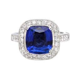 3.41 Carat Cushion Cut Blue Sapphire and 0.65 Carat Diamond Platinum Ring