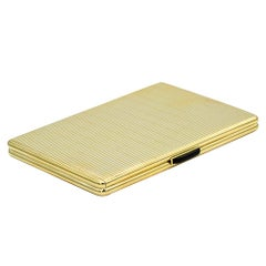 14 Karat Gold Vintage Cigarette Holder / Case/ Box with Black Onyx Open Button