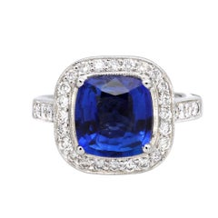 3.31 Carat Sapphire and Diamond Ring