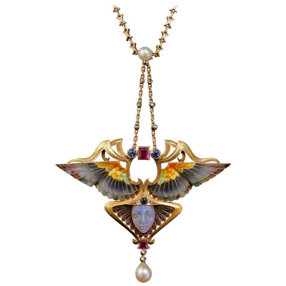 Philippe Wolfers Nike Enamel Ruby Emerald Diamond Gold
