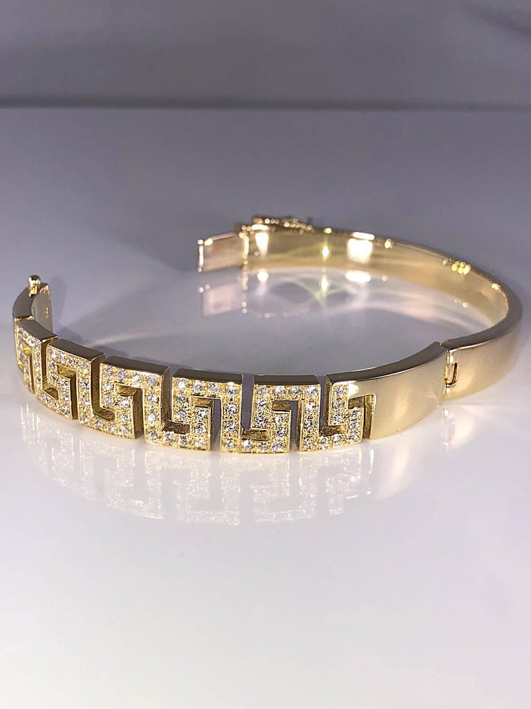 Classical Greek Georgios Collections 18 Karat Yellow Gold Diamond Bracelet the Greek Key Design  For Sale