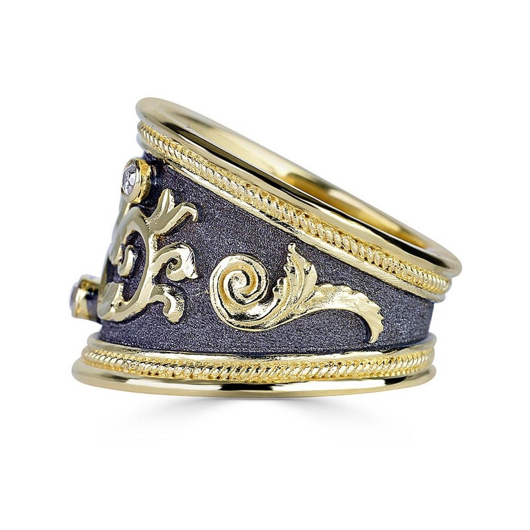 Round Cut Georgios Collections 18 Karat Yellow Gold Byzantine Diamond Ring with Rhodium   For Sale