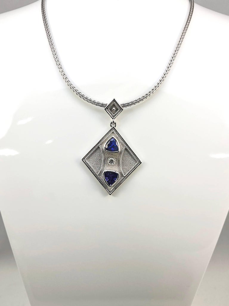 Byzantine Georgios Collections 18 Karat White Gold Pendant with a Diamond and Tanzanites For Sale