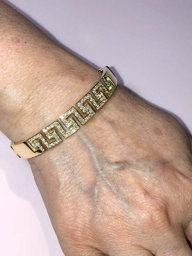 Georgios Collections 18 Karat Yellow Gold Diamond Bracelet the Greek Key Design  In As New Condition For Sale In Astoria, NY
