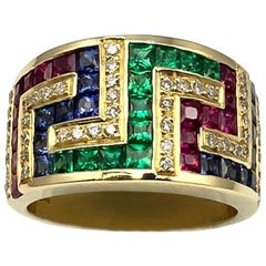 Georgios Collections 18 Karat Yellow Gold Greek Key Ruby Sapphire Emerald Ring