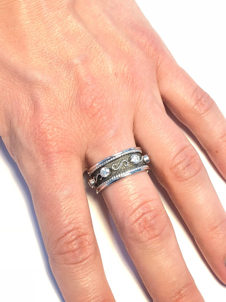Byzantine Georgios Collections 18 Karat White Gold Diamond Band Ring with Black Rhodium For Sale