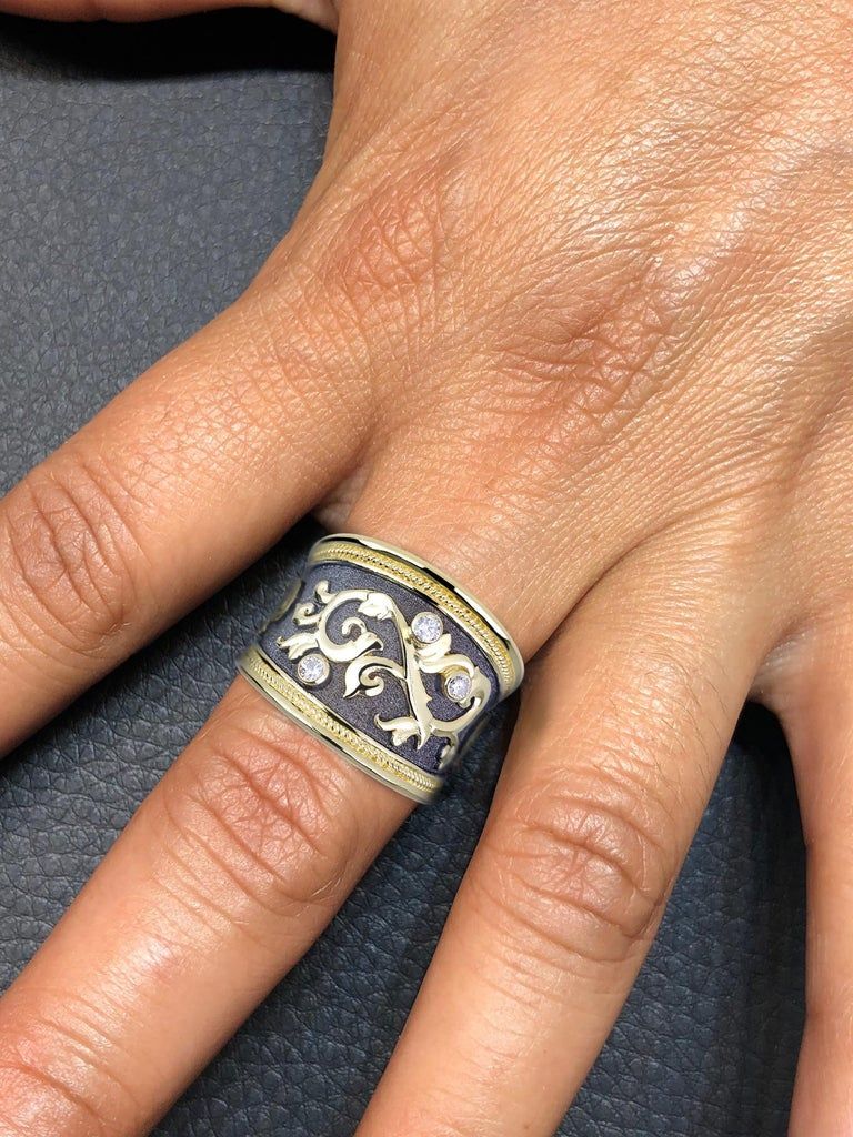 Georgios Collections 18 Karat Yellow Gold Byzantine Diamond Ring with Rhodium   In New Condition For Sale In Astoria, NY