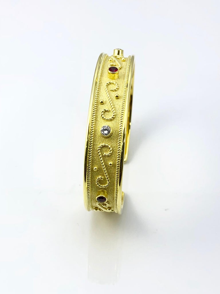 Georgios Collections Yellow Gold 18 Karat Diamond and Ruby Byzantine Bracelet In New Condition For Sale In Astoria, NY