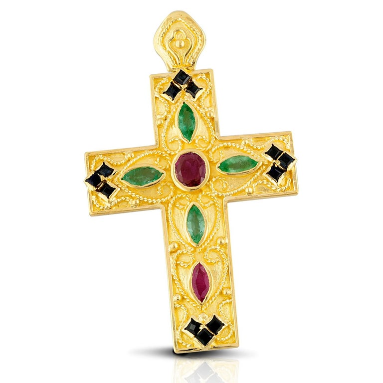 Oval Cut Georgios Collection 18 Karat Gold Ruby, Sapphire and Emerald Byzantine Cross   For Sale