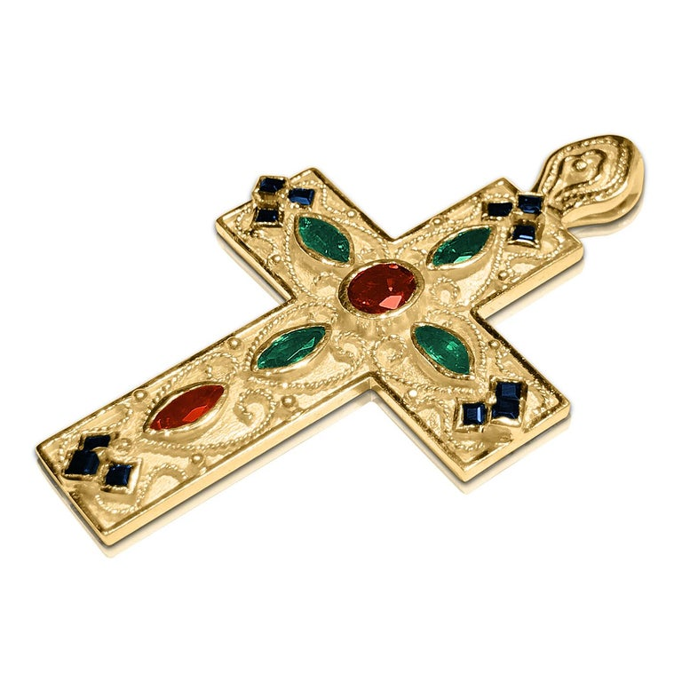 Women's Georgios Collection 18 Karat Gold Ruby, Sapphire and Emerald Byzantine Cross   For Sale
