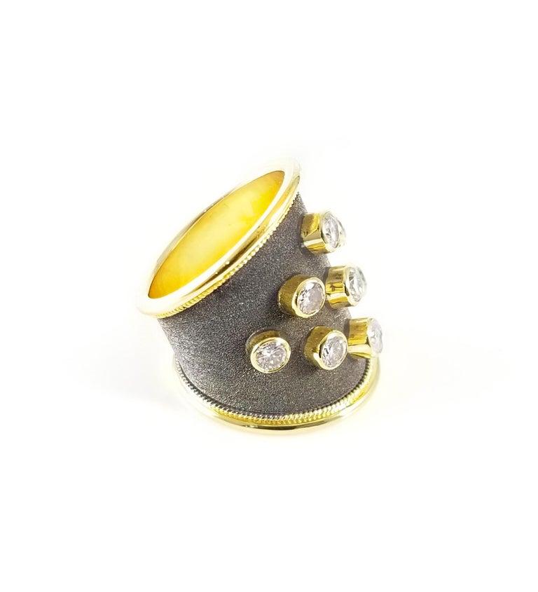 Georgios Collections Ring aus 18 Karat Gelbgold mit Diamanten und schwarzem Rhodium 4