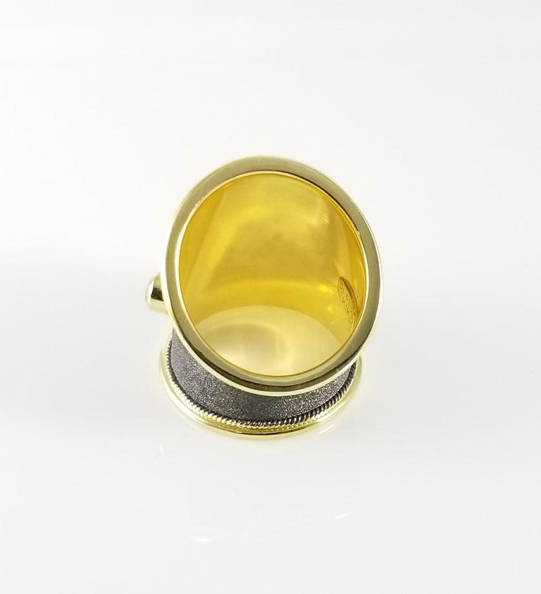 Georgios Collections Ring aus 18 Karat Gelbgold mit Diamanten und schwarzem Rhodium 5
