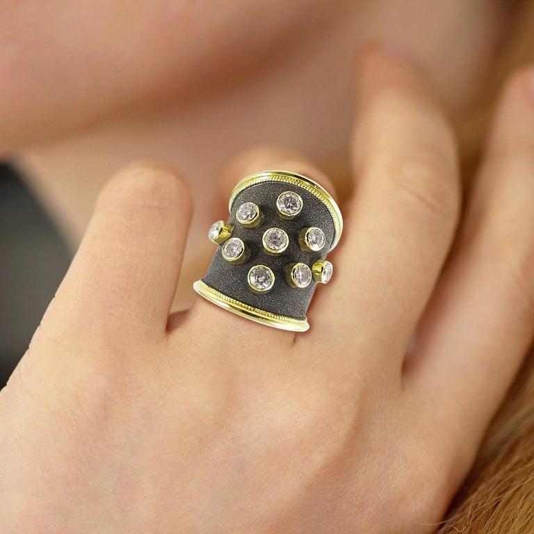 Georgios Collections Ring aus 18 Karat Gelbgold mit Diamanten und schwarzem Rhodium 3