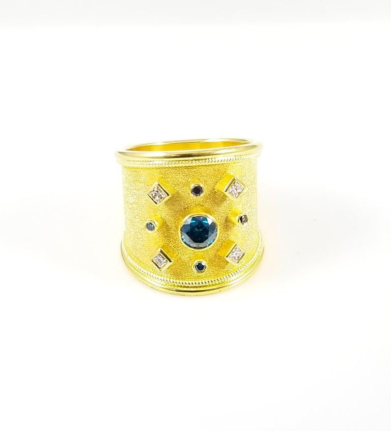 Byzantine Georgios Collections 18 Karat Yellow Gold Blue and White Diamond Thick Band Ring For Sale
