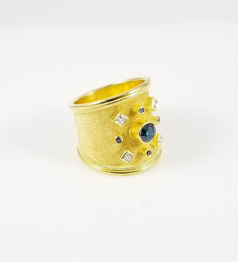 Georgios Collections 18 Karat Yellow Gold Blue and White Diamond Thick Band Ring For Sale 3