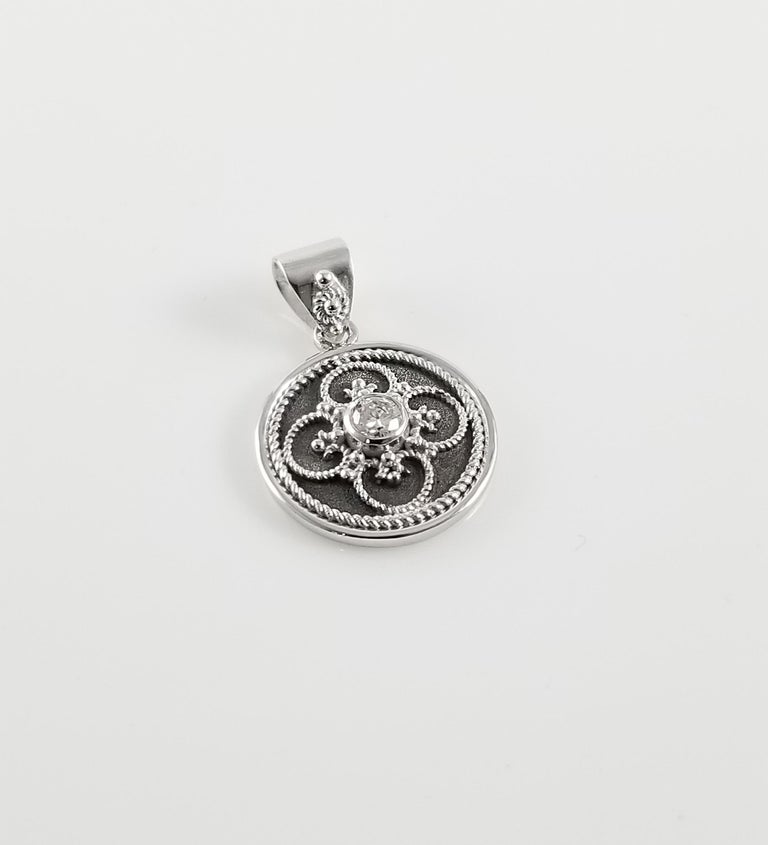 Round Cut Georgios Collection 18 Karat White Gold Diamond Pendant with Granulation work For Sale