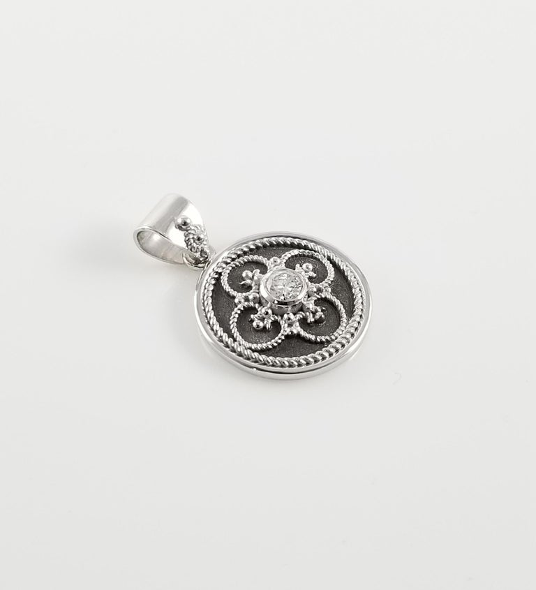 Georgios Collection 18 Karat White Gold Diamond Pendant with Granulation work In New Condition For Sale In Astoria, NY
