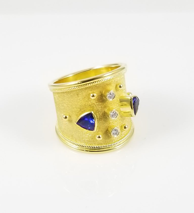 Byzantine Georgios Collections 18 Karat Yellow Gold Tanzanite and Diamond Thick Band Ring For Sale
