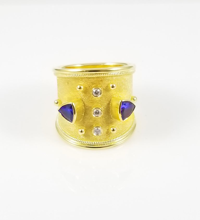 Trillion Cut Georgios Collections 18 Karat Yellow Gold Tanzanite and Diamond Thick Band Ring For Sale