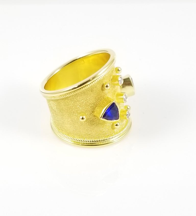 Women's Georgios Collections 18 Karat Yellow Gold Tanzanite and Diamond Thick Band Ring For Sale