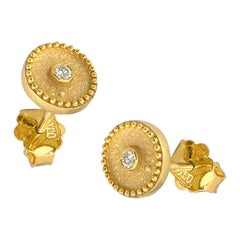 Georgios Collections 18 Karat Yellow Gold Diamond Byzantine Style Stud Earrings