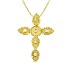 Georgios Collection 18 Karat Gold Diamond Cross With Chain and Granulation work