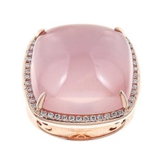 Pink Quartz and Diamond 14 Karat Gold Ring