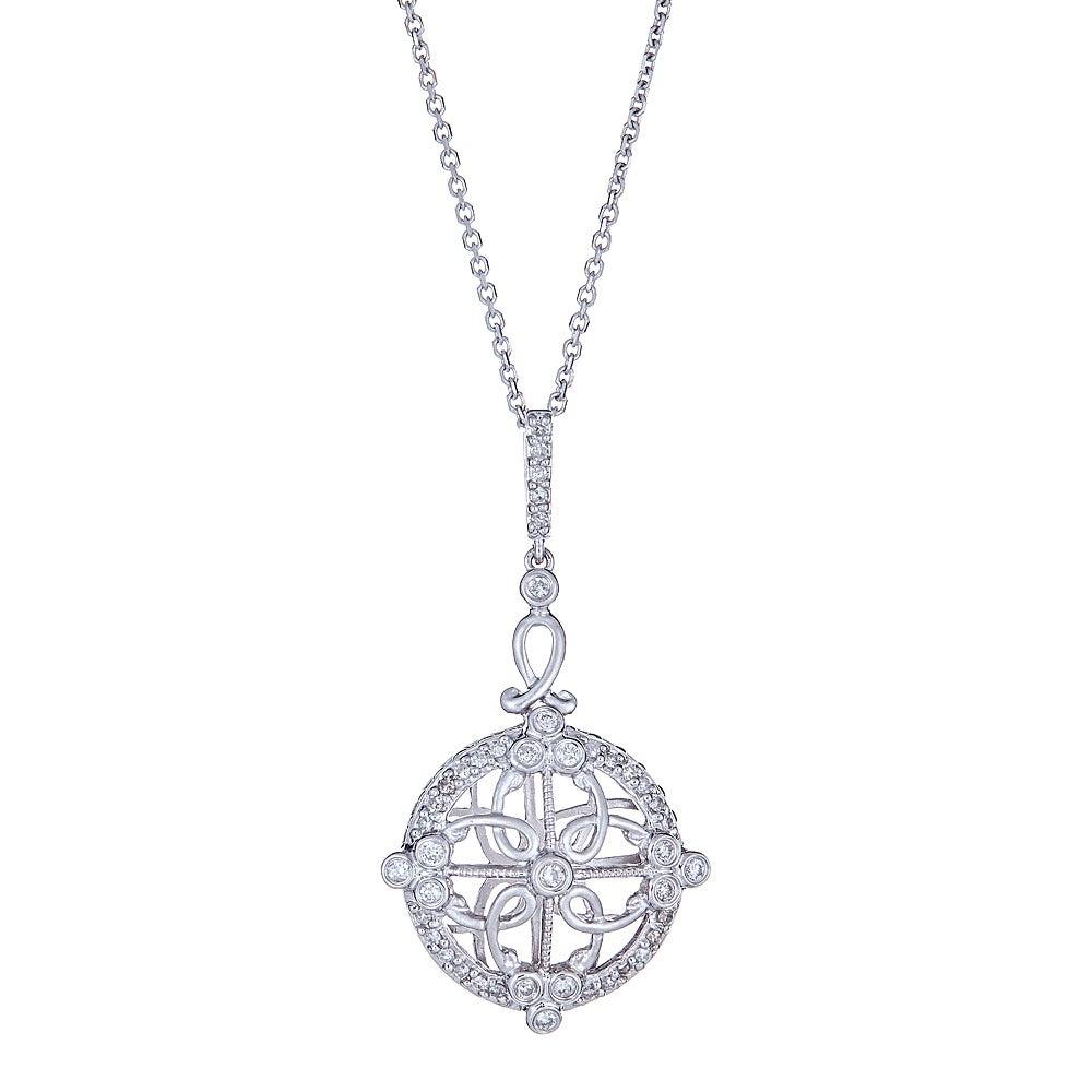 Round Brilliant Cut Diamond 14 Karat White Gold Fine Pendant Chain Necklace