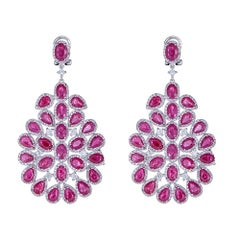 Ruby and Diamond 14 Karat Gold Earrings