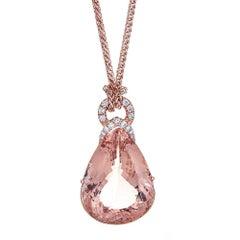 14 Karat Gold Morganite and Diamond Pendant 60 Carat Trilliant-Cut Morganite