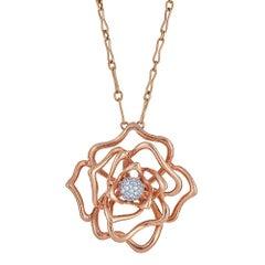 Roberto Coin '18 Karat Rose Gold and Diamond Flower Pendant