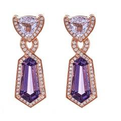 14 Karat Rose Gold Earrings Kunzite Amethyst and Diamond