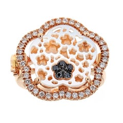 Zoccai Mother-of-Pearl Black and White Diamond 18 Karat Rose Gold Ring