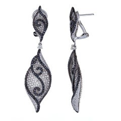 Natalie K. 14 Karat White Gold Black and White Diamond Earrings