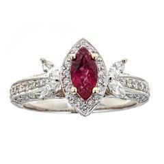 18 Karat White Gold ' 0.60 Carat Ruby and 0.76 Carat Diamond Ring