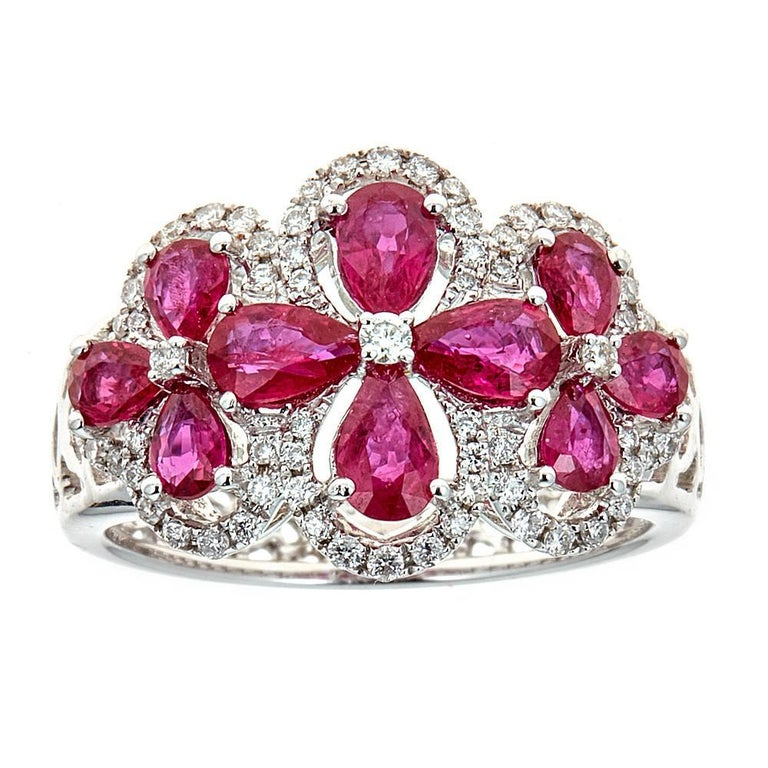 18 Karat White Gold 1.81 Carat Ruby and 0.34 Carat Diamond Ring