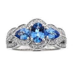 2.0 Carat Ceylon Sapphire 0.42 Carat Diamond 14 Karat White Gold Ring