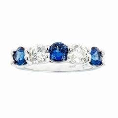 18 Karat White Gold 0.85 Carat Diamonds and 1.4 Carat Sapphires Band