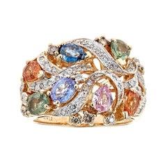 Le Vian Multicolored Sapphire and Diamond 14 Karat Yellow Gold Ring