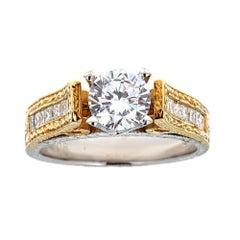Tacori 18 Karat Two-Tone Gold and Diamond Engagement Ring