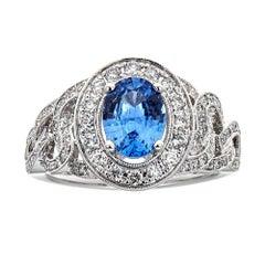 Ceylon Sapphire and Diamond 14 Karat White Gold Ring