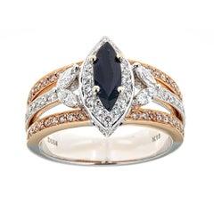 18 Karat Gold Two-Tone Sapphire and Diamond Ring