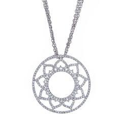 14 Karat White Gold and 0.88 Carat Diamond Flower Pendant