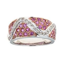 1.0 Carat Pink Sapphire and 0.40 Carat Diamond 18 Karat White Gold Ring