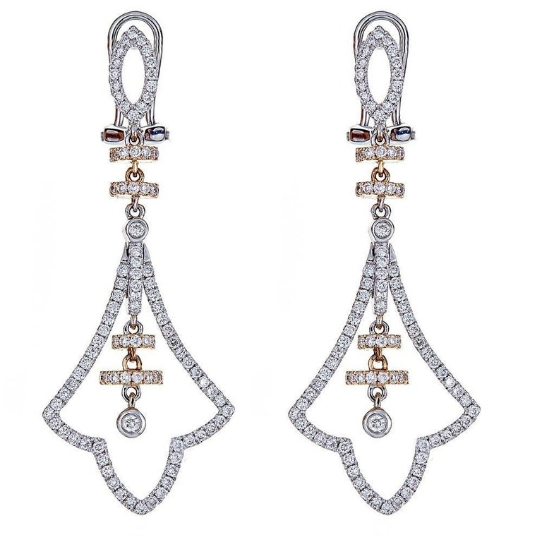 Contemporary 14 Karat Two Tone Gold And 1 72 Carat Diamond Earrings For