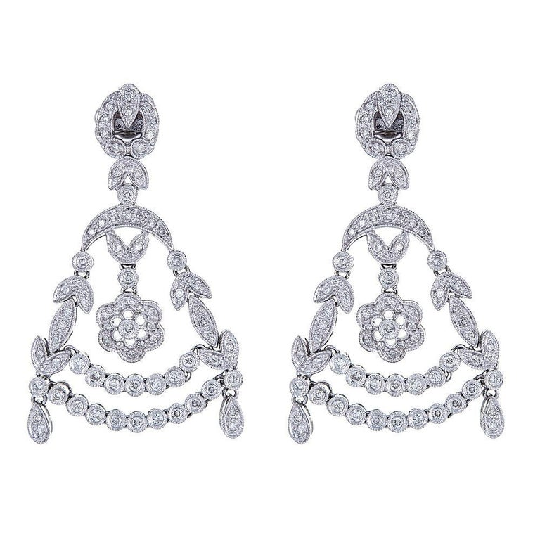 Contemporary 18 Karat White Gold 1 14 Carat Diamond Earrings For