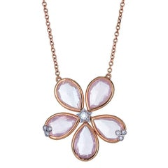 Rose Quartz and 0.14 Carat Diamond 18 Karat Rose Gold Necklace